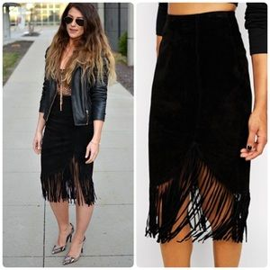 NWOT ASOS Pencil Skirt in Suede with Fringing sz 4